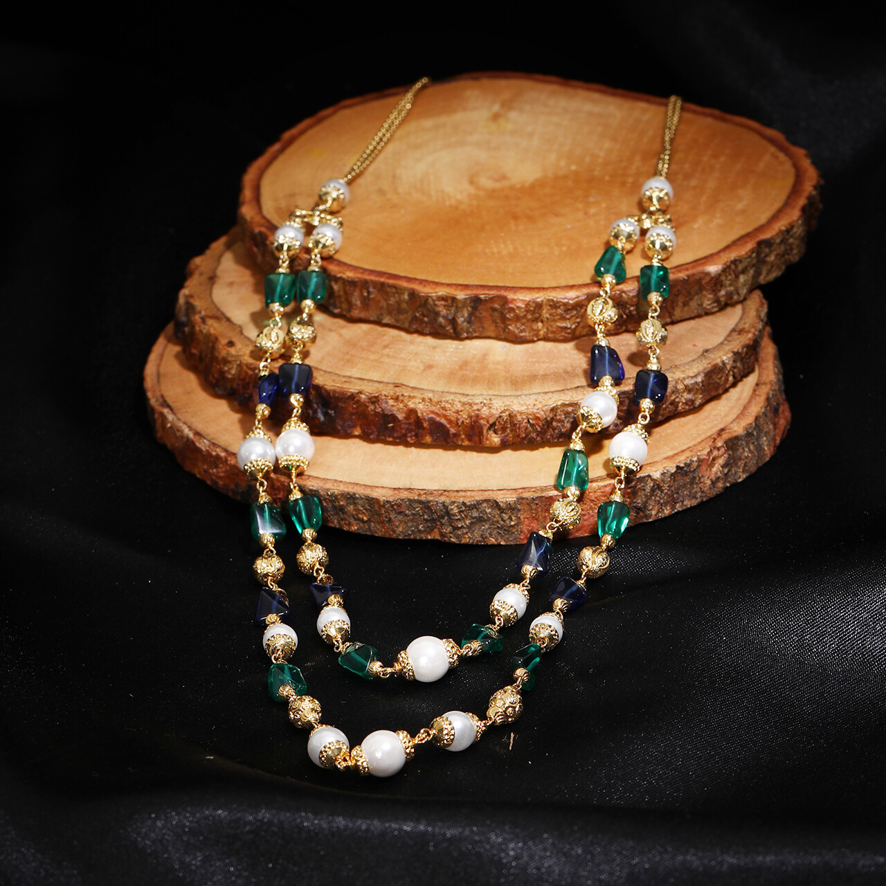 IndusDiva Two Layer Pearl And Beads Necklace