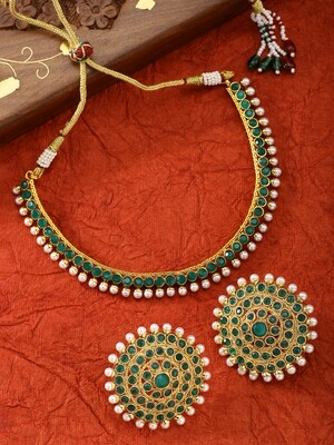 Aheli Green Faux Stone Wedding Necklace Jewellery Set
