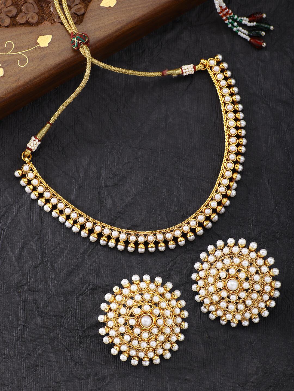 Aheli Faux Stone Wedding Necklace Earrings Indian Fashion Jewellery Set