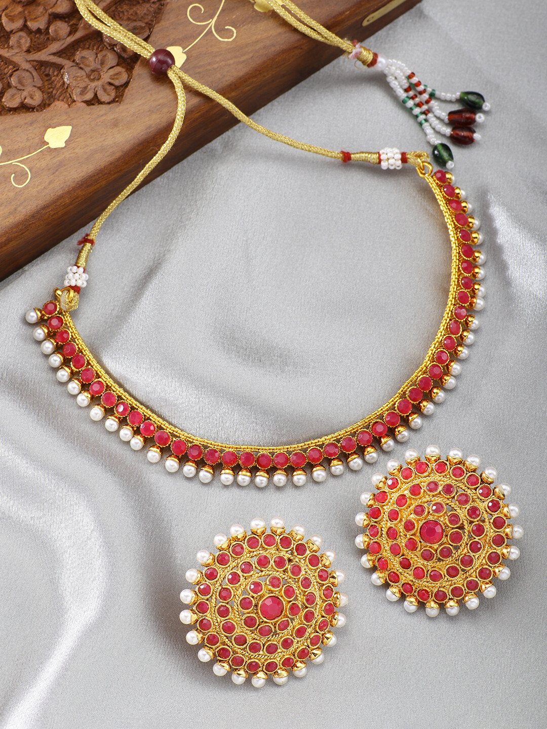 Aheli Bollywood Faux Stone Wedding Jewellery Set In Pink
