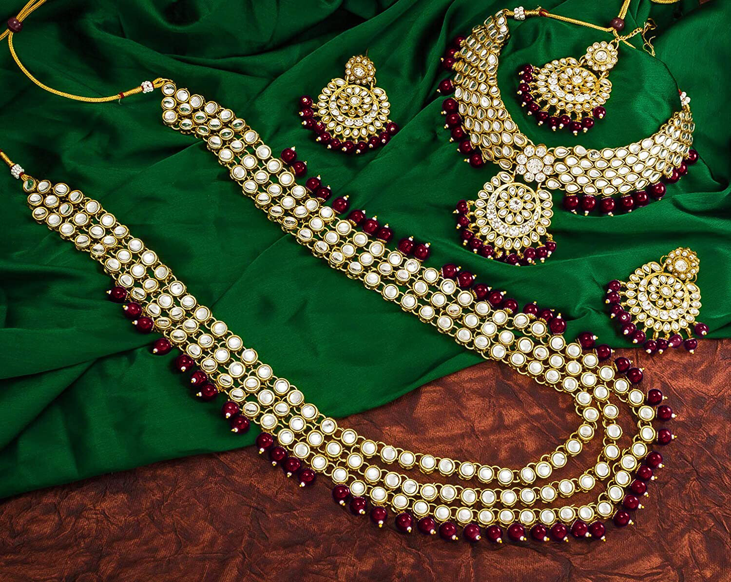 Aheli Designer Faux Kundan Beaded Indian Bridal Set