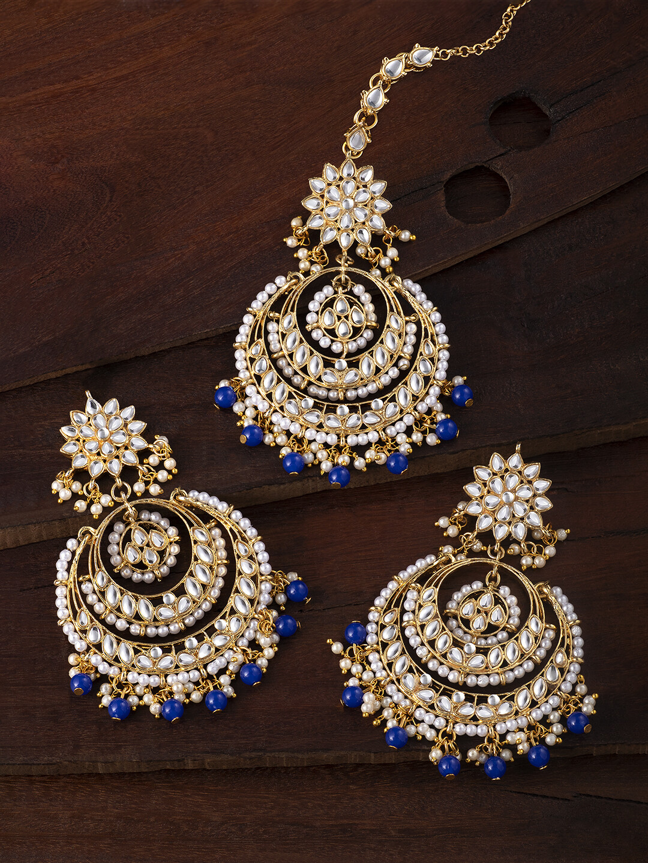 Aheli Blue Ethnic Chandbali Style Earrings Maang Tikka Set