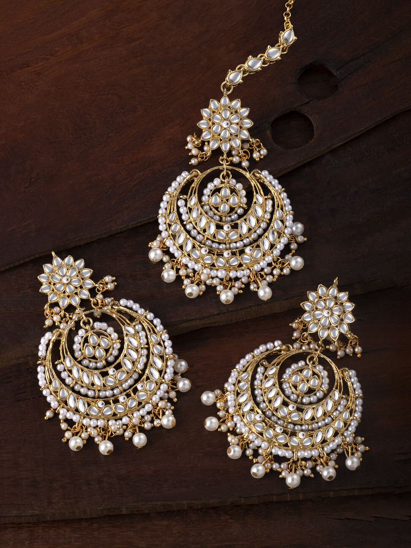 Aheli Bollywood Chandbali Style Earrings Maang Tikka Set
