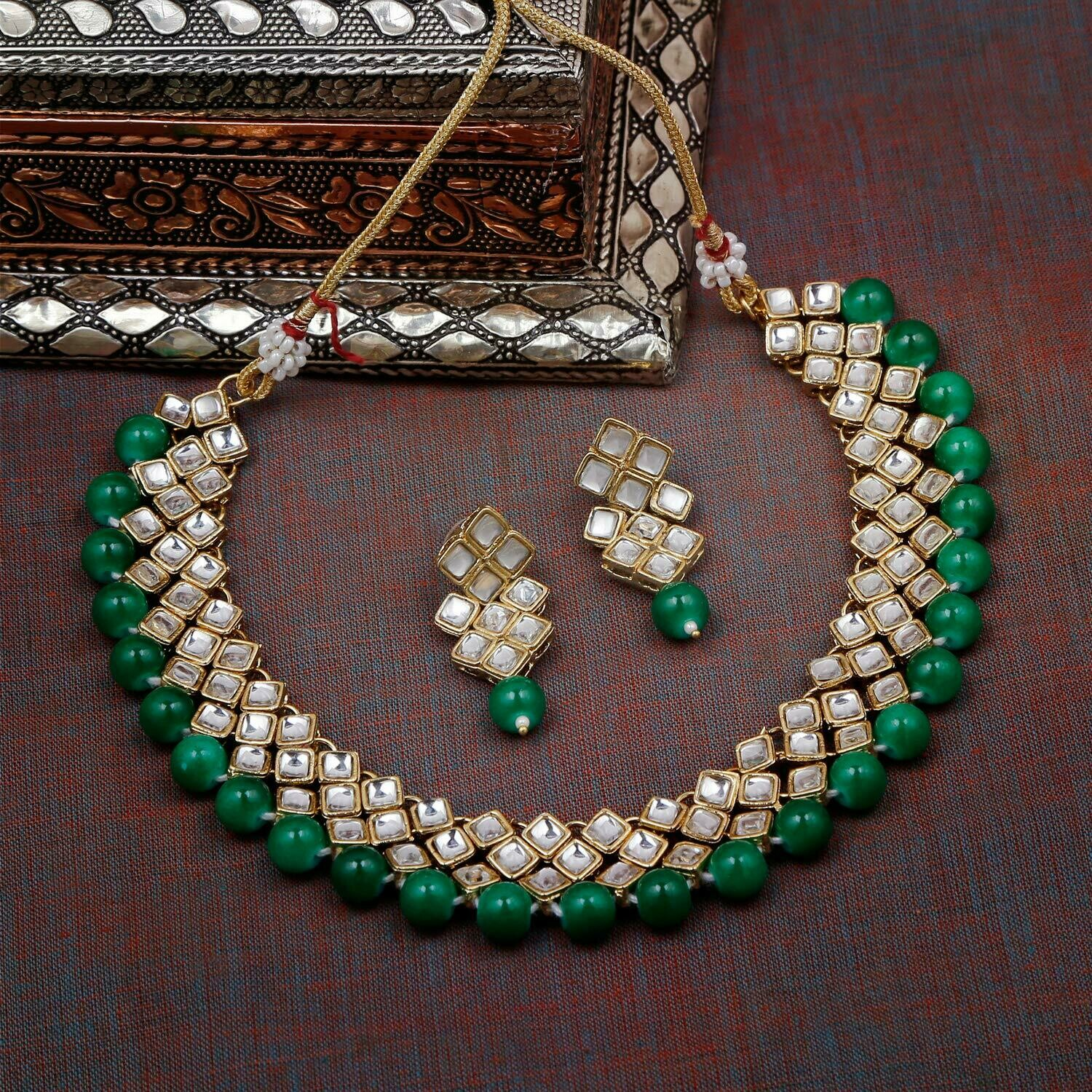 Aheli Green Wedding Wear Necklace And Earring Set