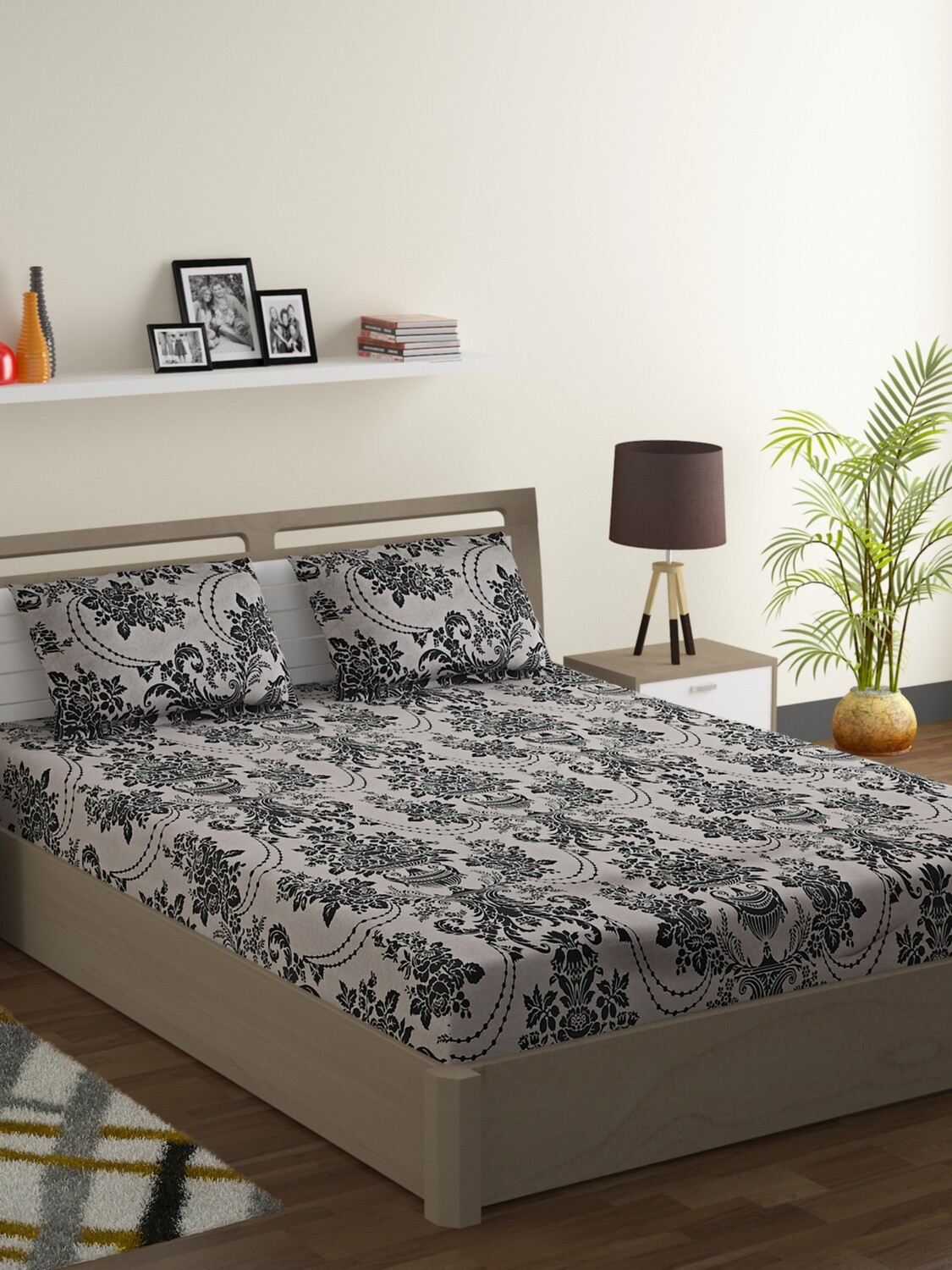 Swayam Sparkle Collection- Double Bed sheet with Two Pillow Cover Set