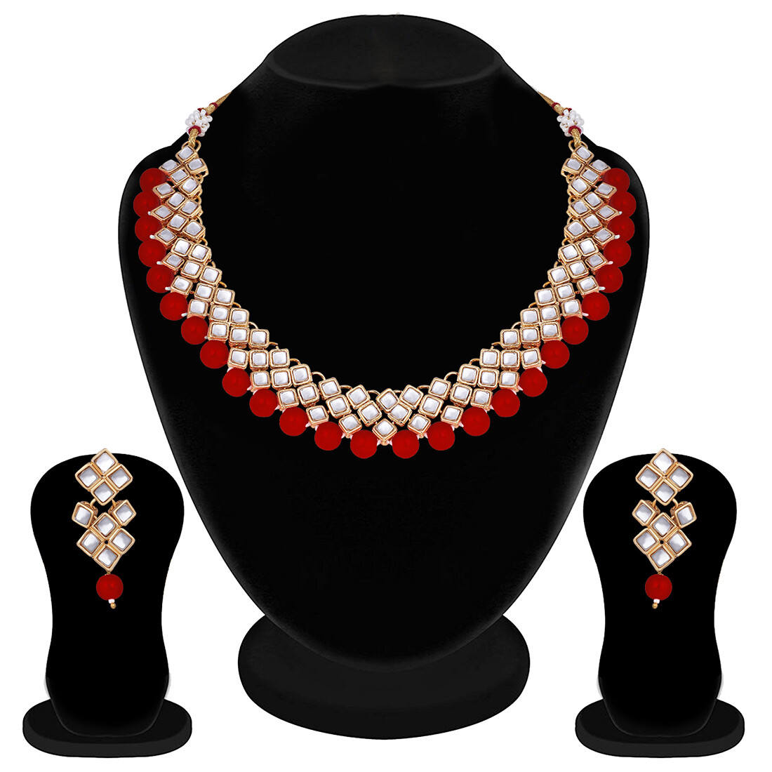 Aheli Ethnic Necklace And Earring Set Stylish In Maroon