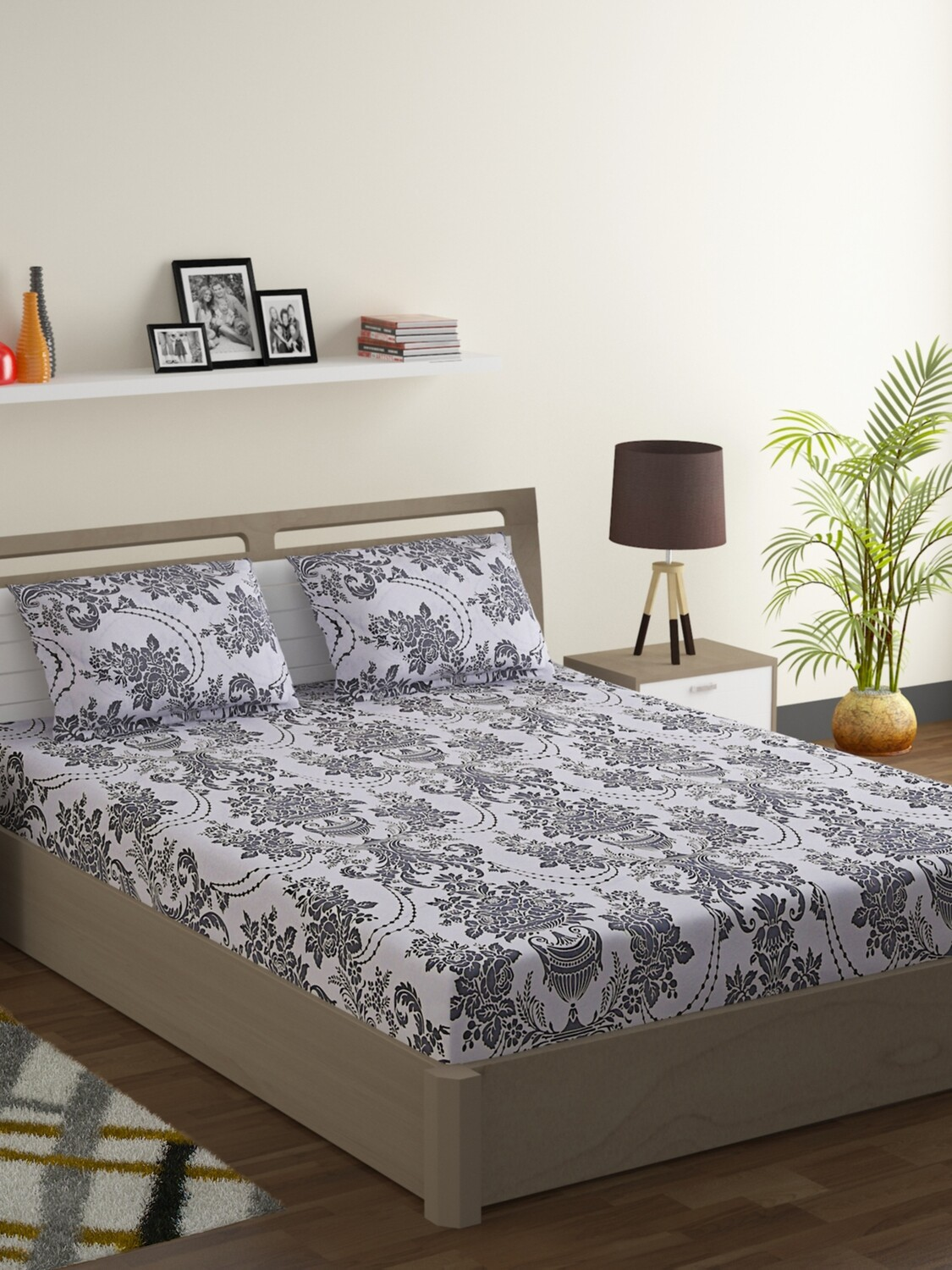 Swayam Smokey White Chandelier 120 TC Cotton Double Bedsheet with 2 Pillow Covers