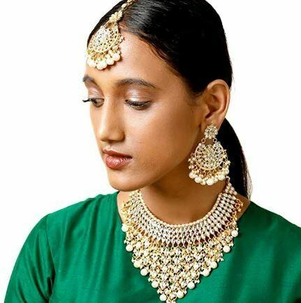 Aheli Ethnic White Kundan Necklace Earrings And Maang Tikka Set