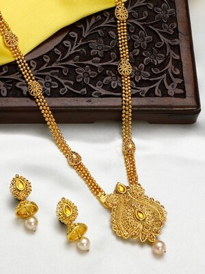 Aheli Handcrafted Gold Tone Long Necklace And Earrings Set