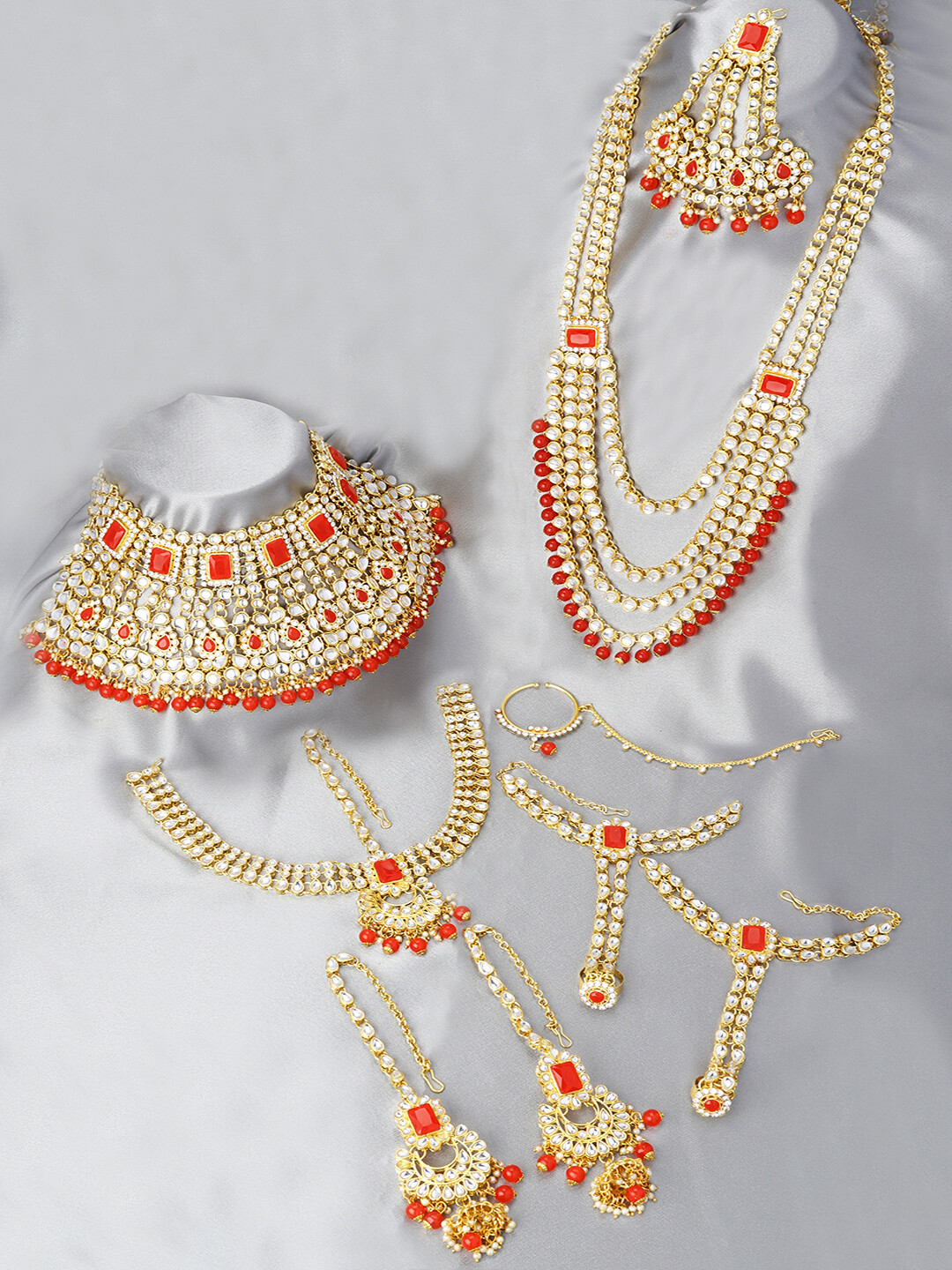 Aheli Red Bridal Faux Kundan Jewelry Set With Hath Phool