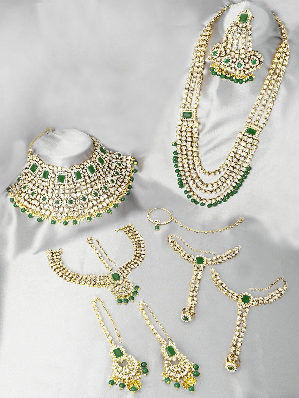 Aheli Wedding Green Kundan Beads Jewelry Set With Hath Phool