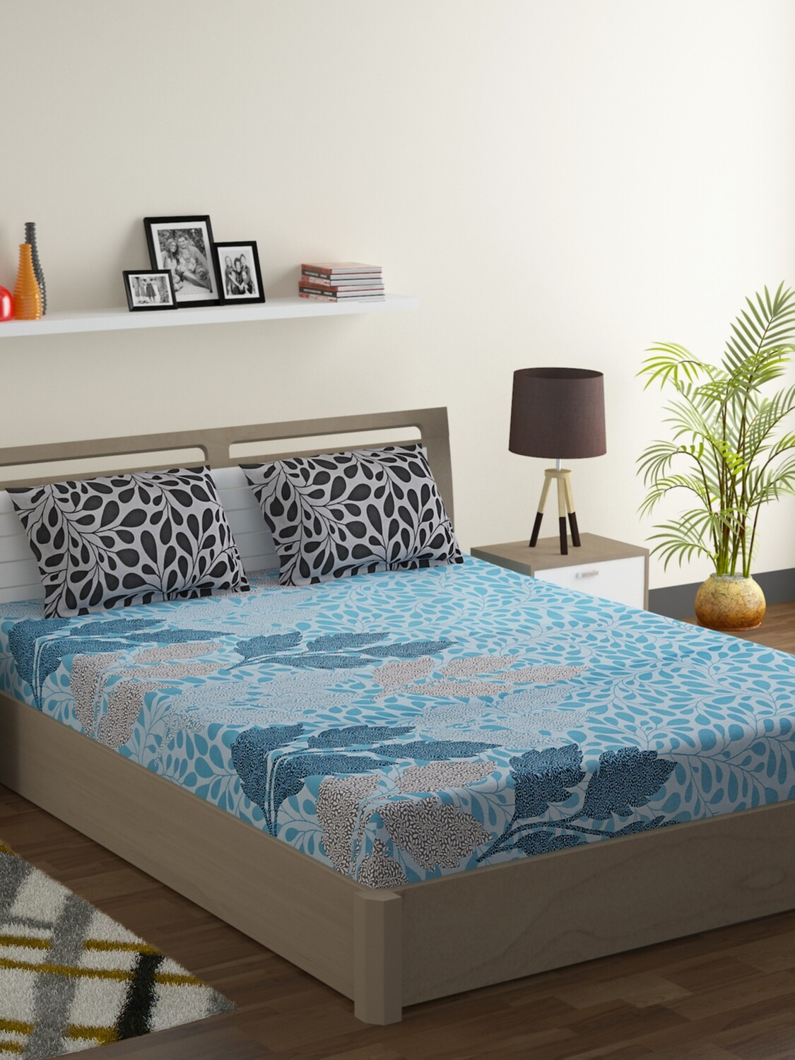 Swayam Marine Blue Foliage 120 TC Cotton Double Bedsheet with 2 Pillow Covers