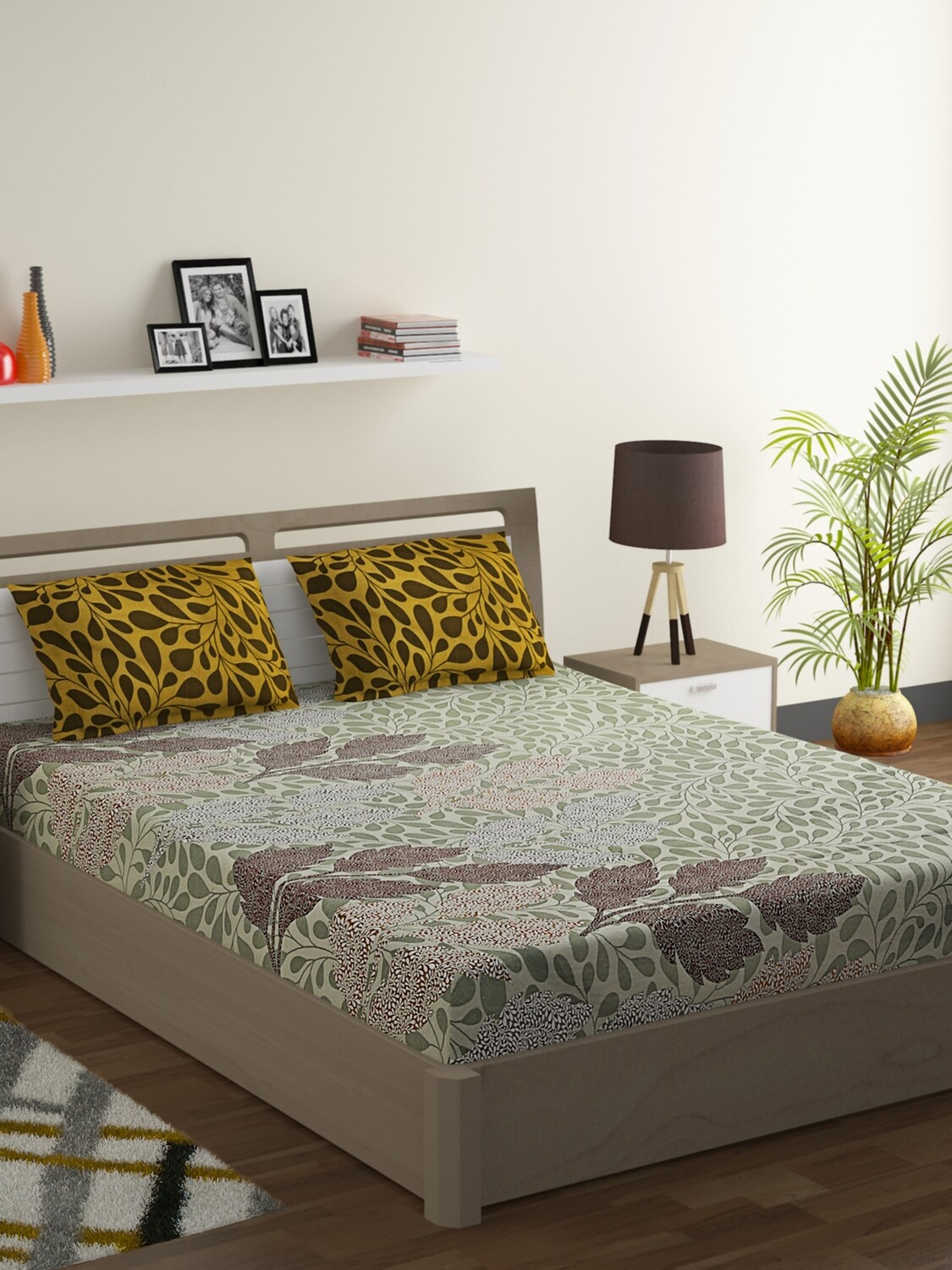 Swayam Dull Green Foliage 120 TC Cotton Double Bedsheet with 2 Pillow Covers