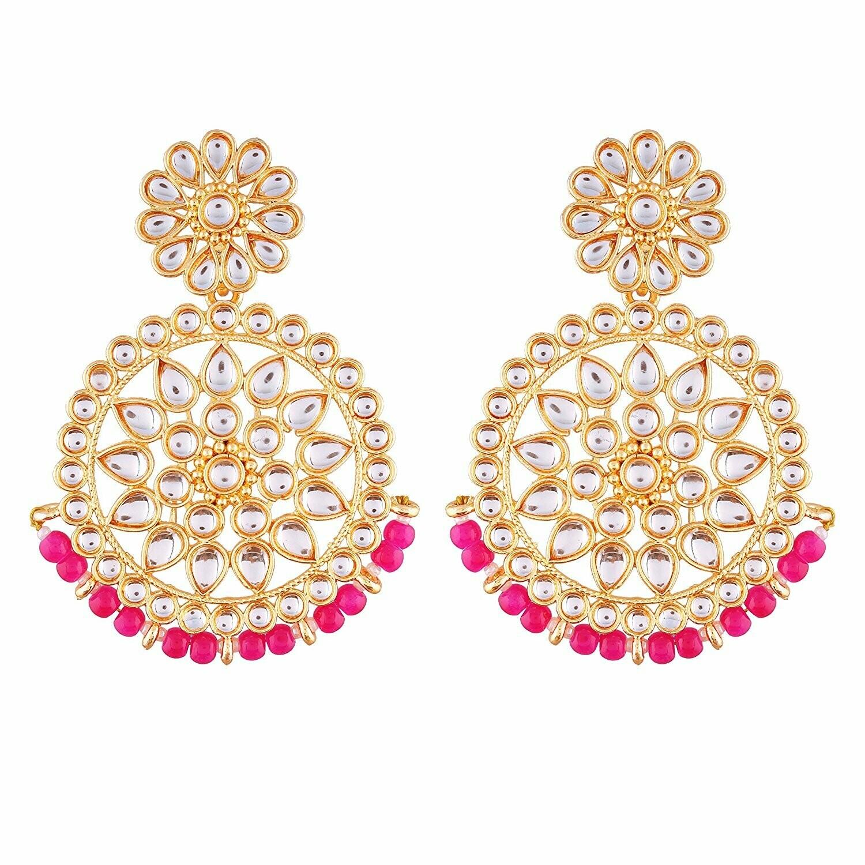 Aheli Ethnic Faux Kundan Round Chandbali Dangle Earrings