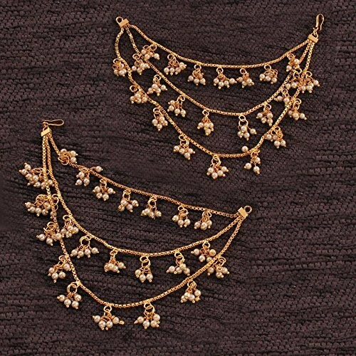 Aheli Indian Triple Layer Pearls Ear Chain