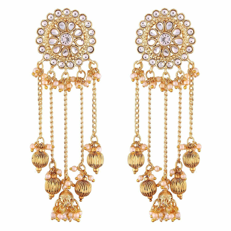 Aheli Dangle Earrings with Tassel Faux Kundan Embellishment