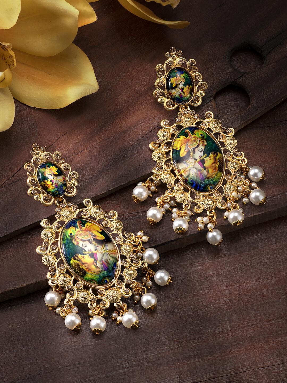 Aheli Meenakari Enamel Padmavati Drop Dangle Earrings