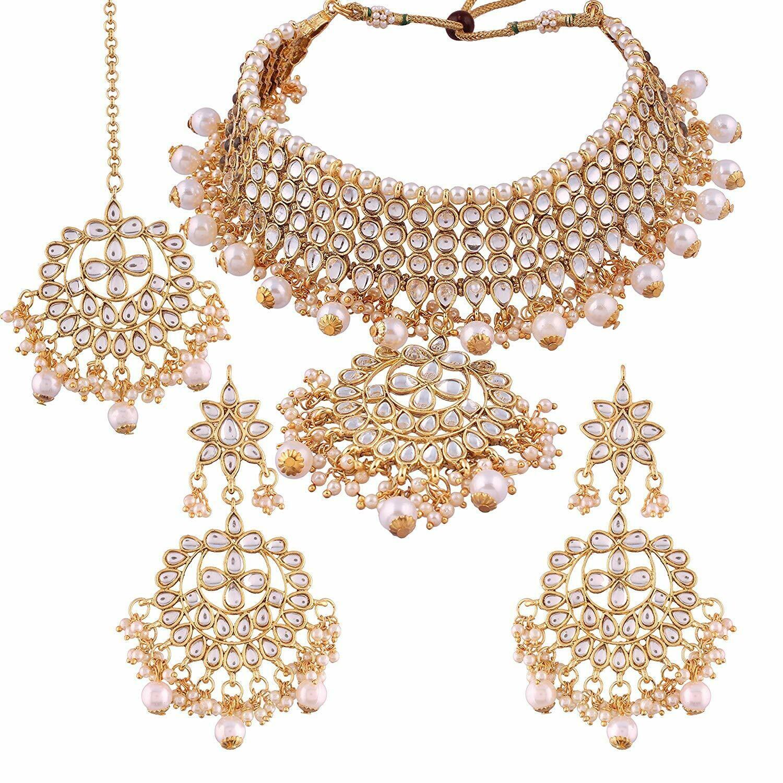 Aheli Kundan Pearl Jewellery Set