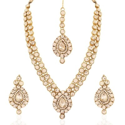 Aheli Wedding Wear Faux Stone Necklace And Maang Tikka Set