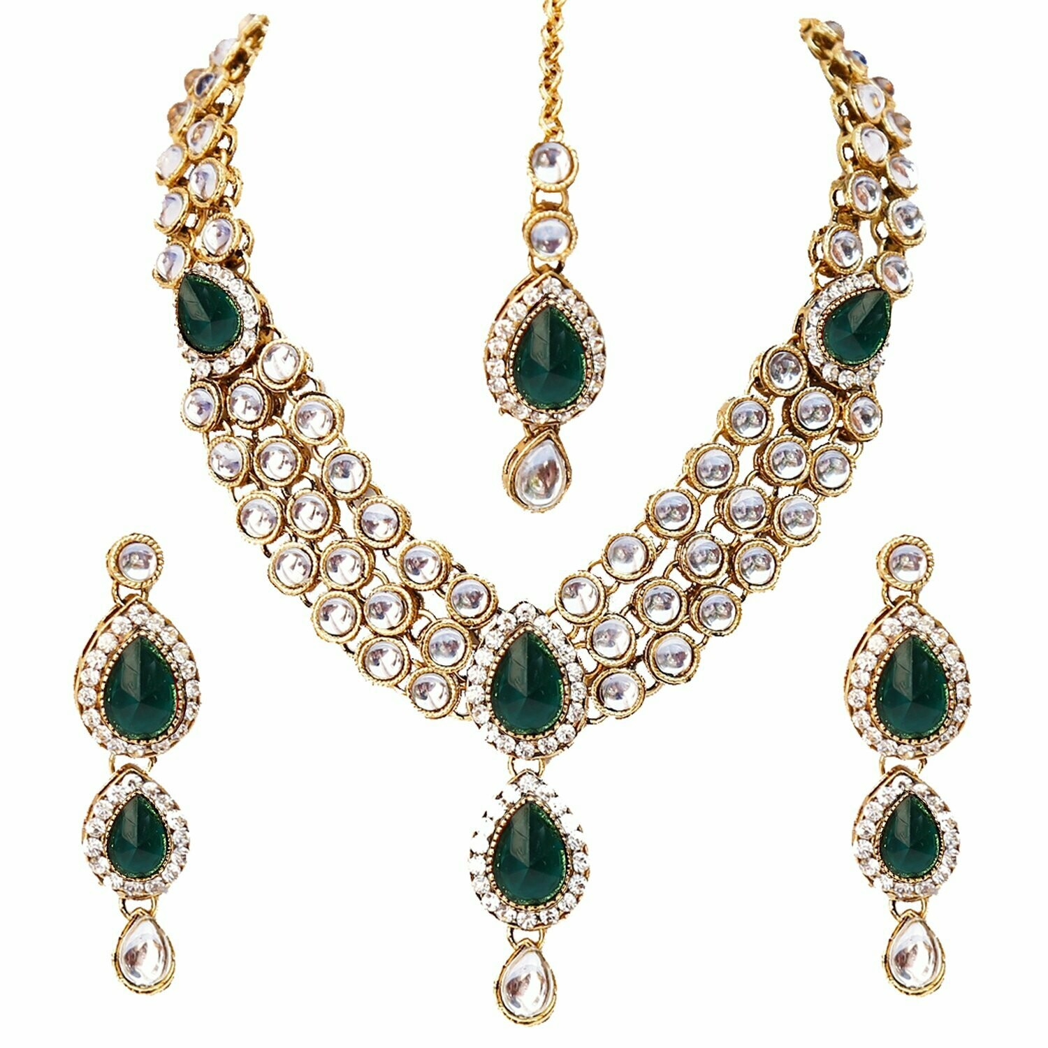 Aheli Wedding Wear Kundan Maang Tikka Earrings Necklace Set