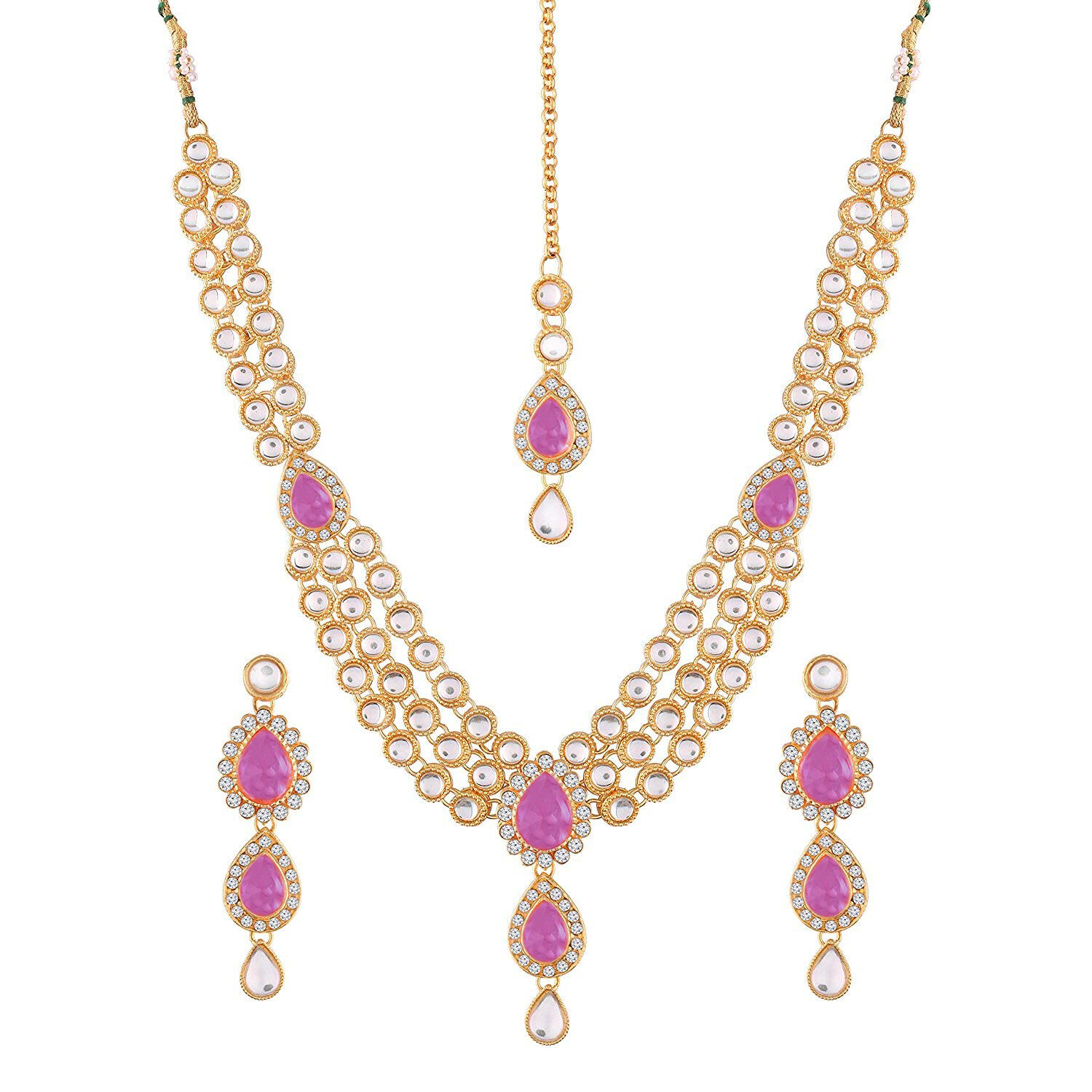 Aheli Kundan Necklace Earrings And Maang Tikka  Set