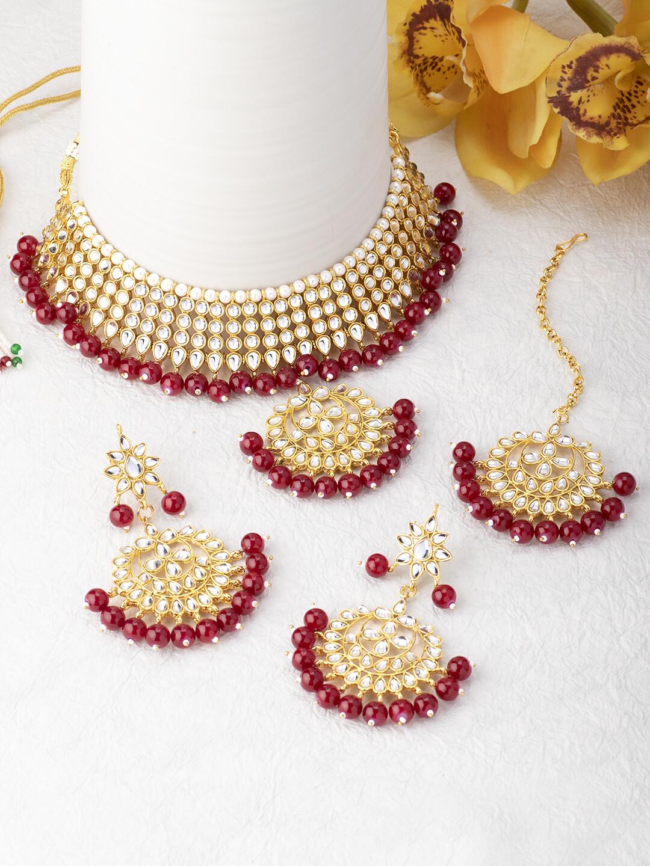 Aheli Red Kundan Choker Necklace Maang Tikka And Earring Set