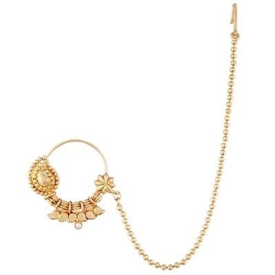 Aheli Traditional Pearl Nose Ring Nath With Pearl Chain