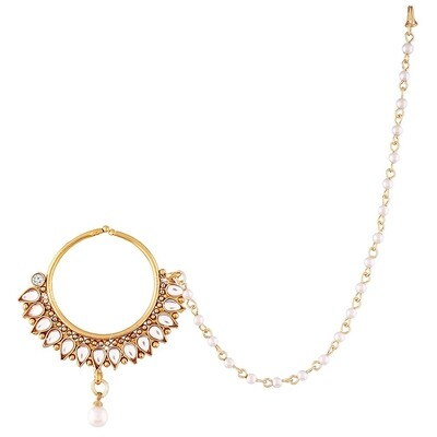 Aheli Pearl Nose Ring Nath Wedding