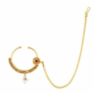 Aheli Classy Nose Ring Nath with Pearl Chain