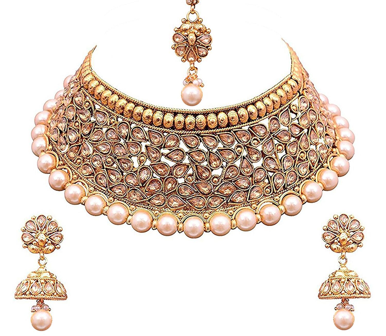 Aheli Designer Choker Necklace With Jhumki And Maang Tikka Set