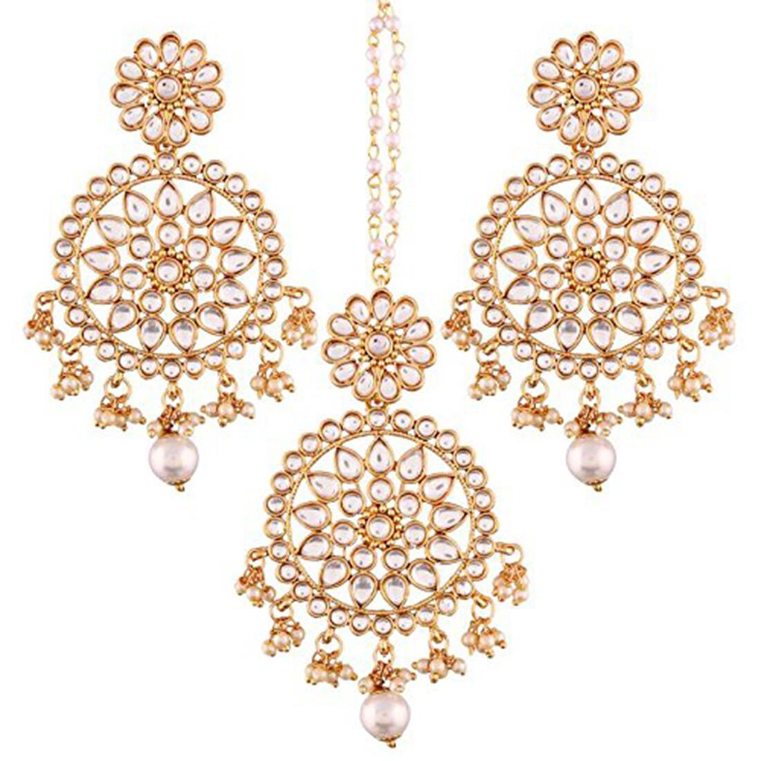 Aheli Kundan Drop Pearl Beads Dangle Earrings And Maang Tikka Set