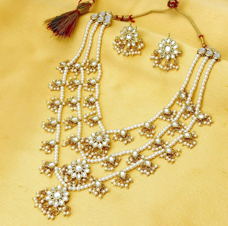 Aheli Layered Faux Pearl Kundan Rani Haar Necklace And Earring Set