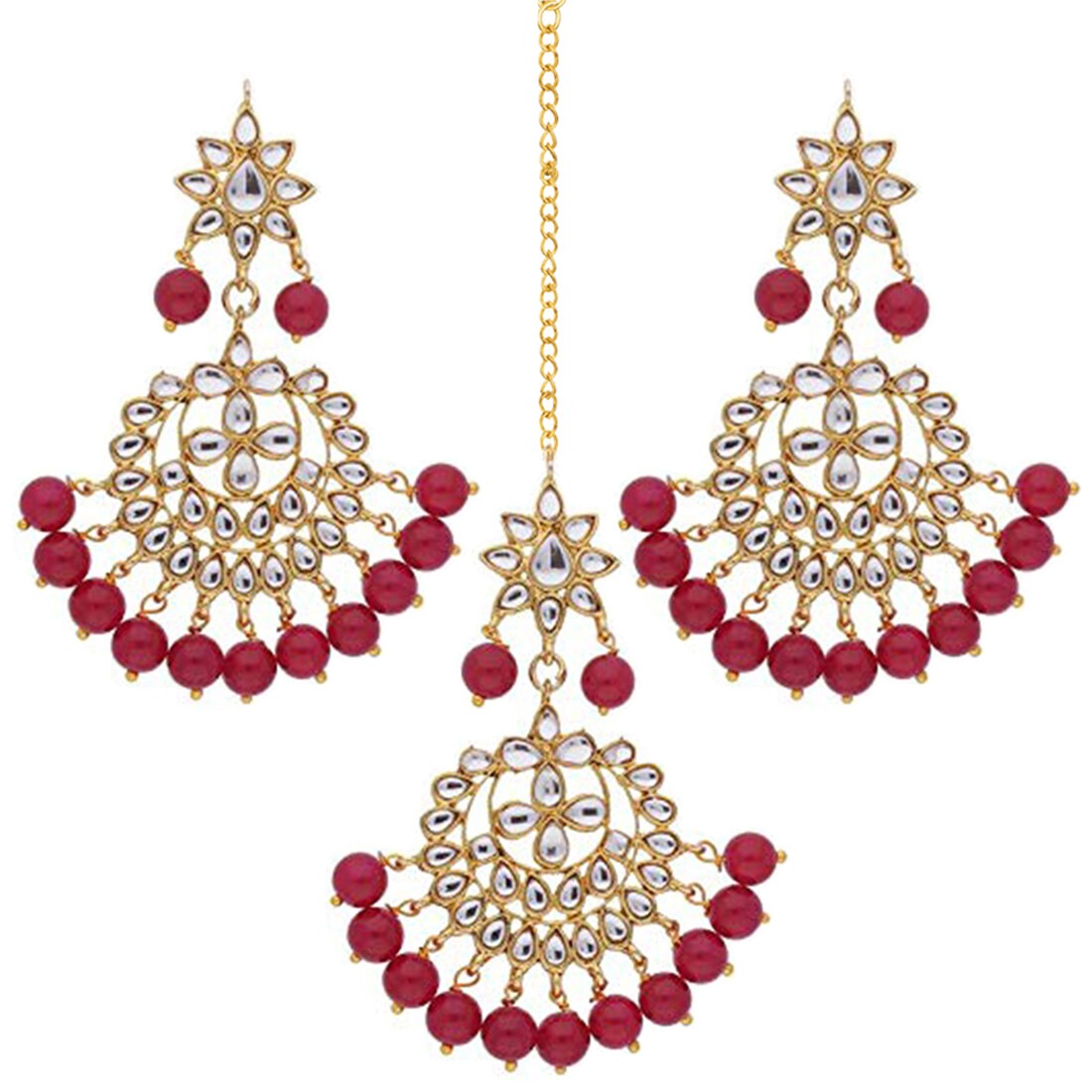 Aheli Traditional Red Faux Kundan Beaded Maang Tikka with Earrings Set