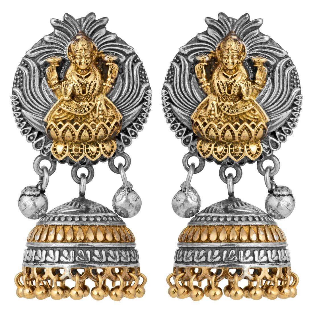 Aheli Goddess Laxmi Crafted Vintage Oxidized Jhumki Earrings
