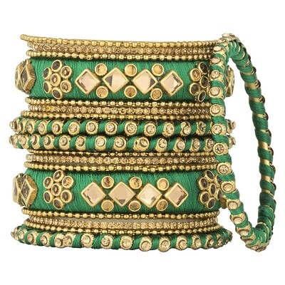 Aheli Green Silk Thread Faux Stone Studded Bangle Chudha Set