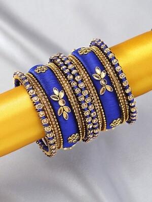 Aheli Blue Silk Thread Faux Stone Studded Bangle Chudha Set