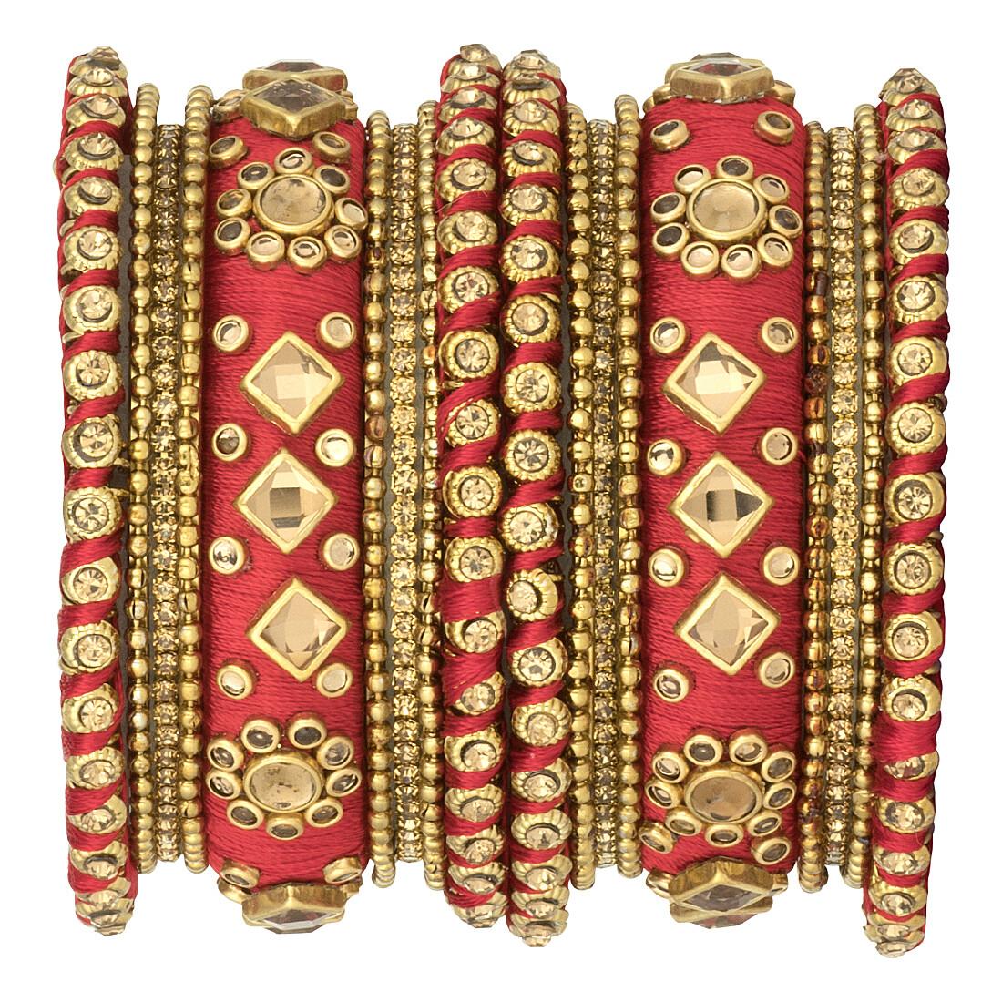 Aheli Red Ethnic Handmade Silk Thread Stone Studded Chudha Bangle Set