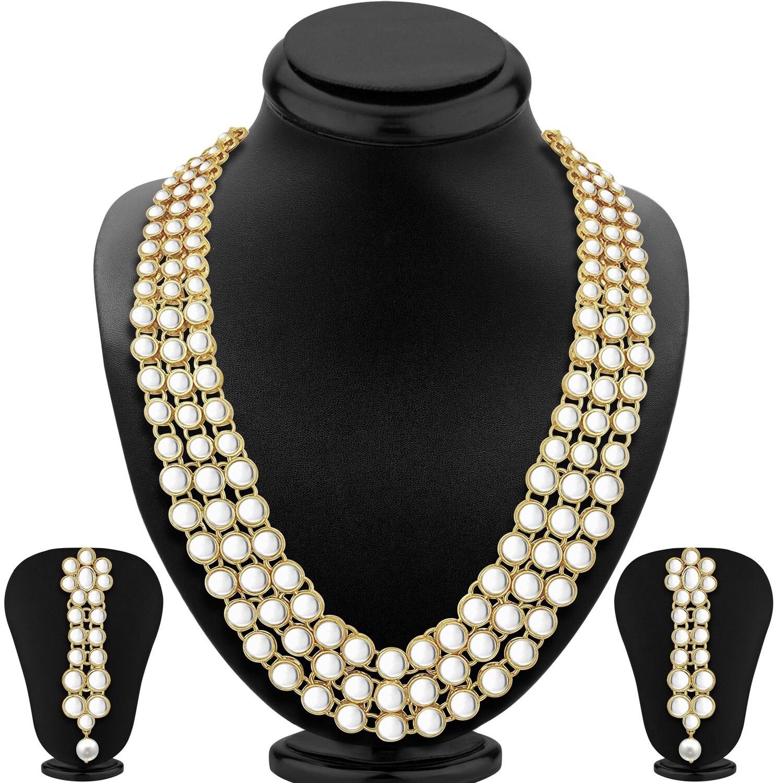 Aheli Ethnic Kundan Studded Necklace with Earrings Set