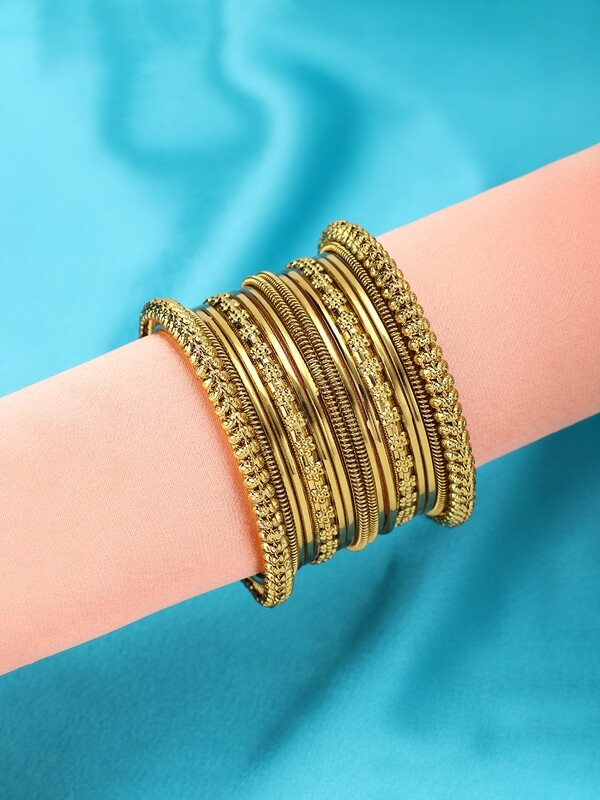 Aheli Oxidized Bohemian Bangles Set in Gold
