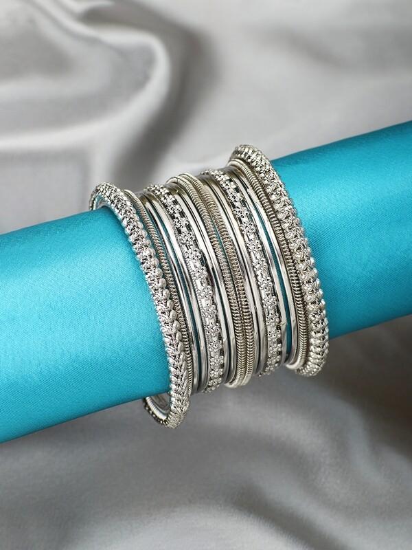 Aheli Oxidized Silver Bohemian Bangles Set