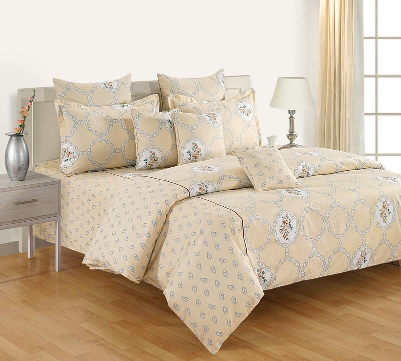 Swayam Beige Monochromatic Trellis 120 TC Cotton Double Bedsheet with 2 Pillow Covers