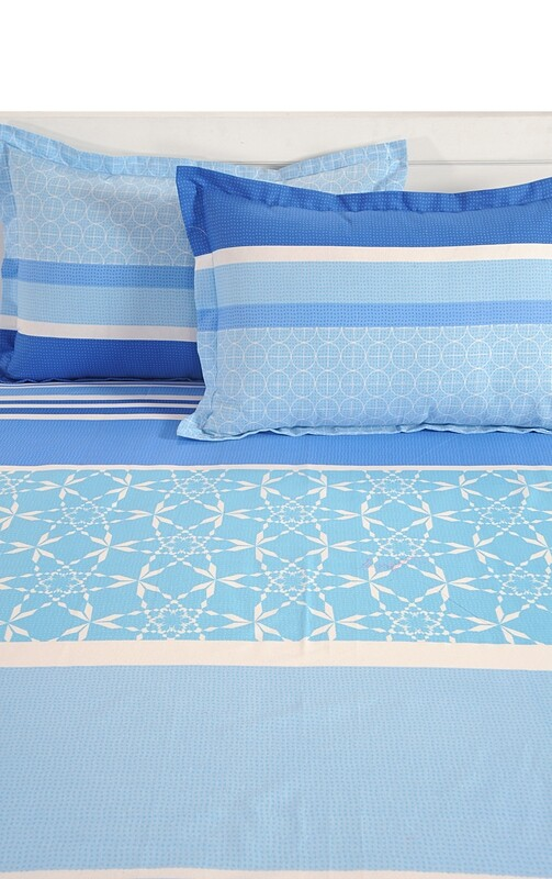 Swayam Blue Strokes of Joy 120 TC Cotton Double Bedsheet with 2 Pillow Covers
