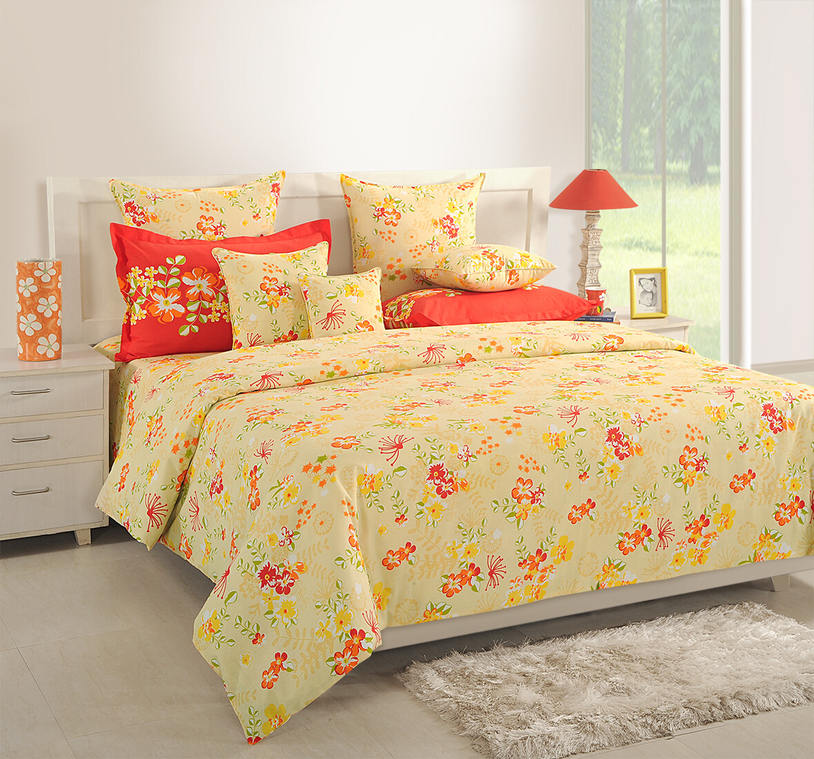 Swayam Yellow Garland 120 TC Cotton Double Bedsheet with 2 Pillow Covers