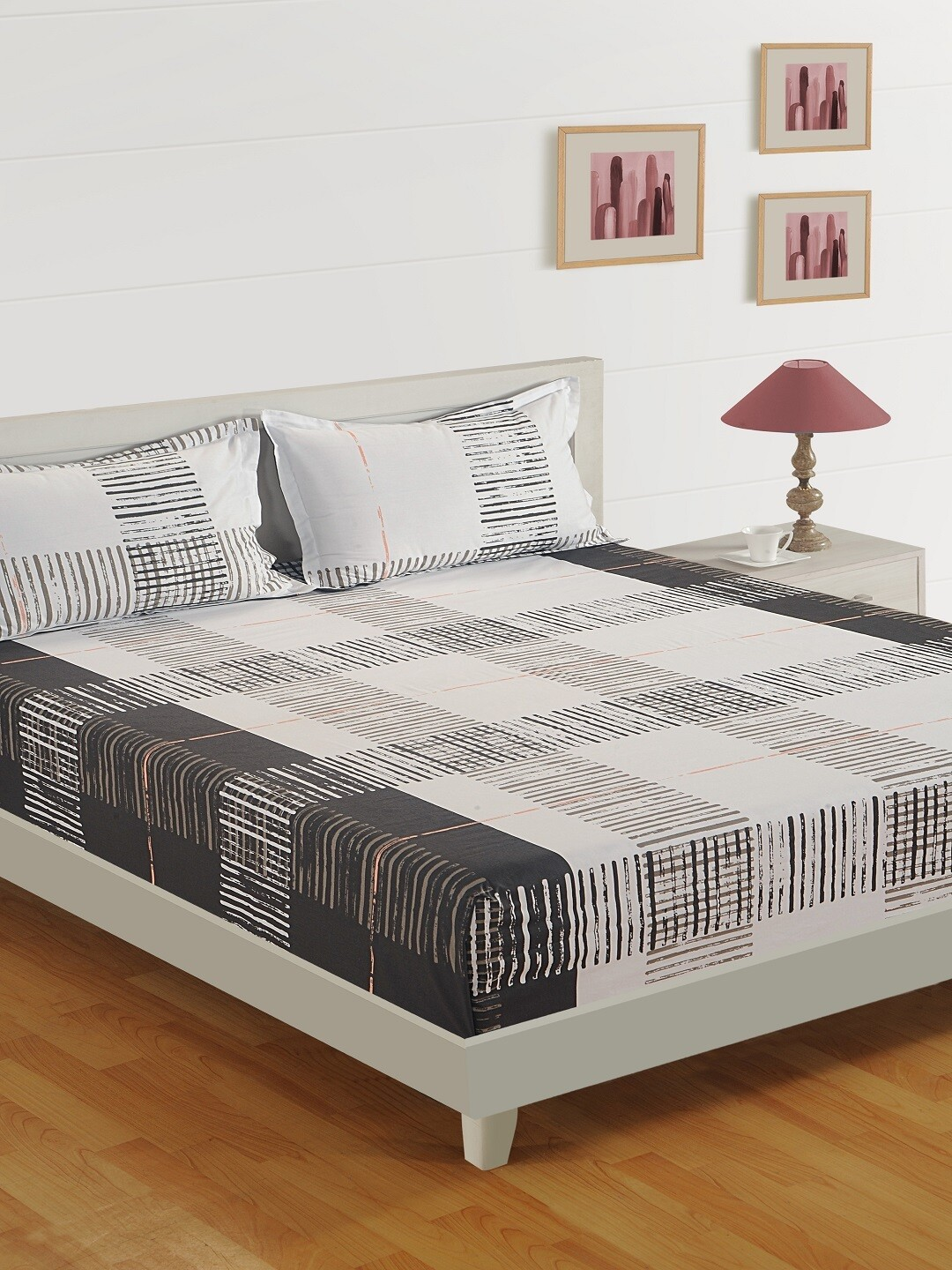 Swayam Black & White Lines 120 TC Cotton Double Bedsheet with 2 Pillow Covers
