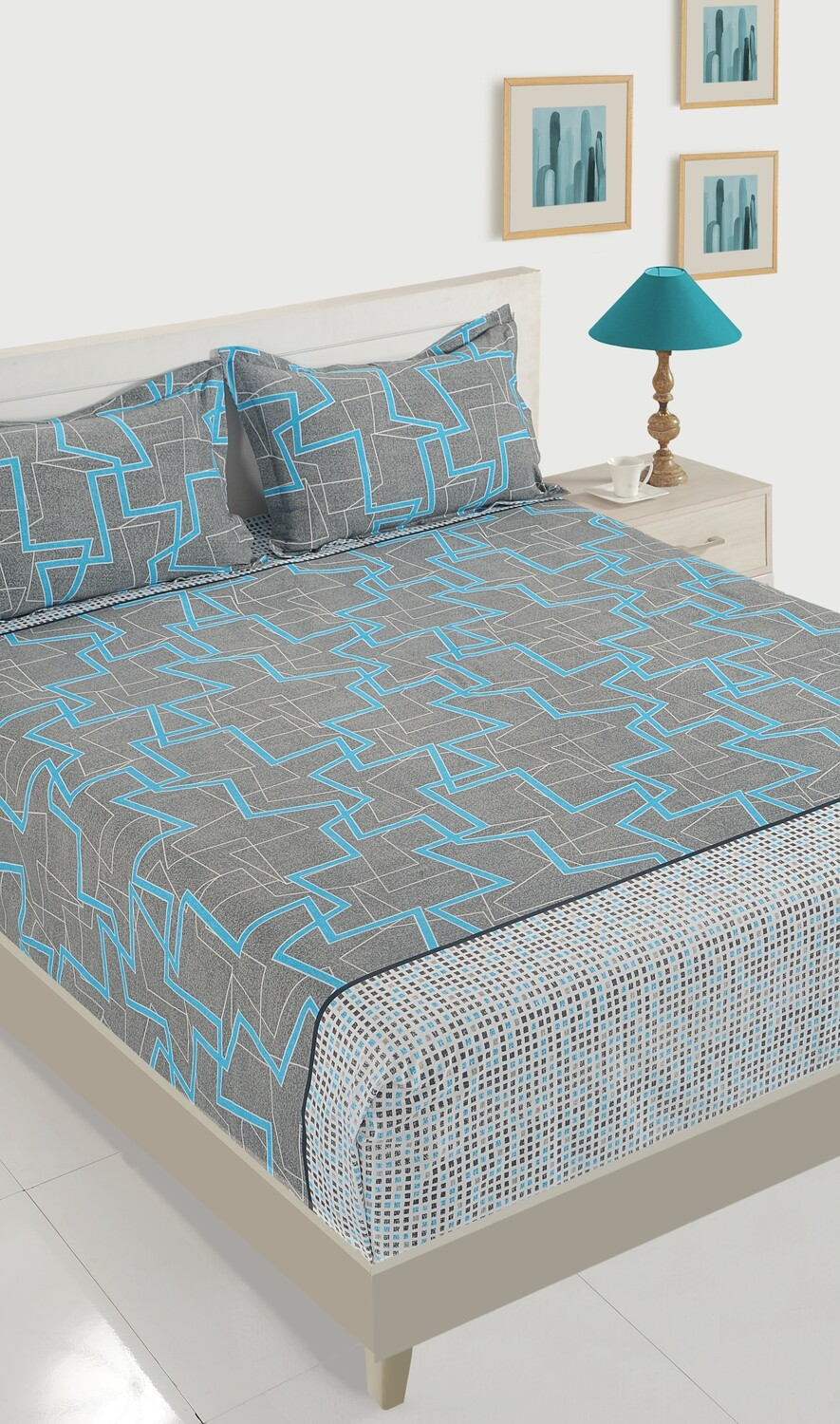 Swayam Swadeshi Sapphire & Grey 200 GSM 100% Cotton Double Bedsheet with 2 Pillow Covers
