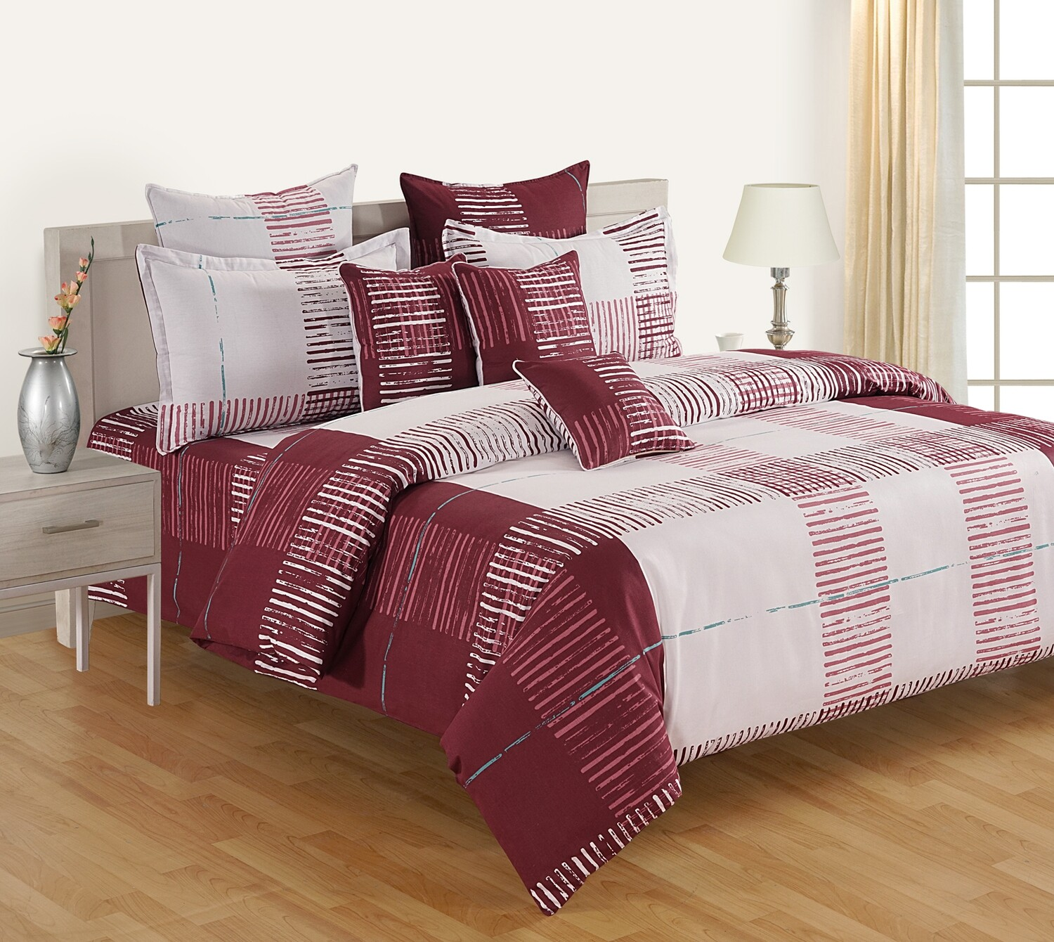 Swayam Maroon White Lines 120 TC Cotton Double Bedsheet with 2 Pillow Covers