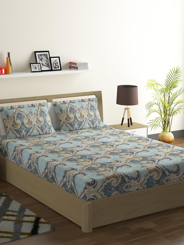 Swayam Swadeshi Azure & Green 200 GSM 100% Cotton Double Bedsheet with 2 Pillow Covers