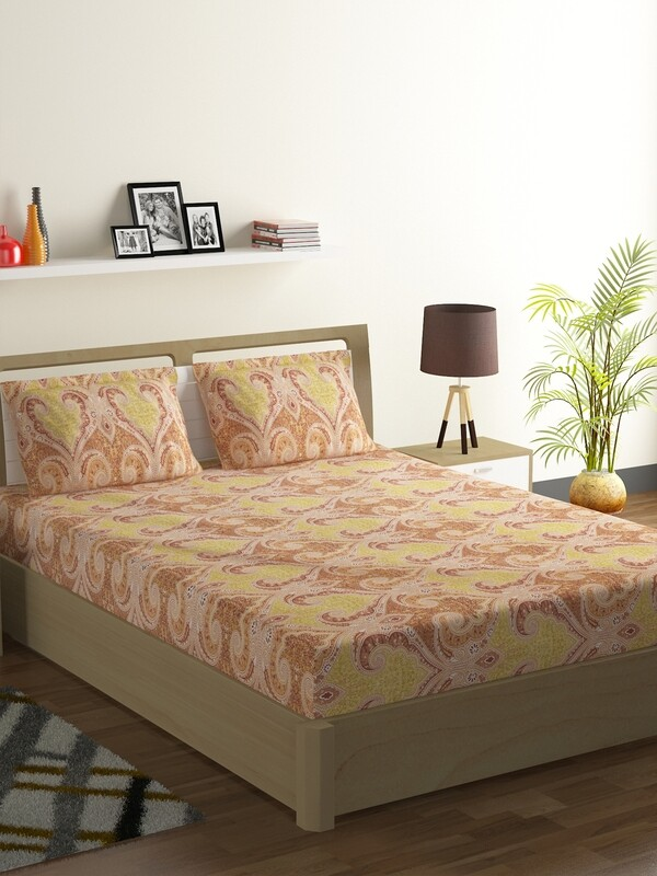 Swayam Swadeshi Apricot Amber 200 GSM 100% Cotton Double Bedsheet with 2 Pillow Covers