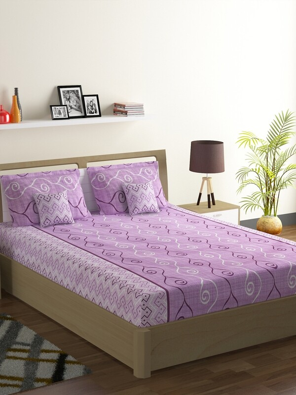 Swayam Swadeshi Lavender 200 GSM 100% Cotton Double Bedsheet with 2 Pillow Covers