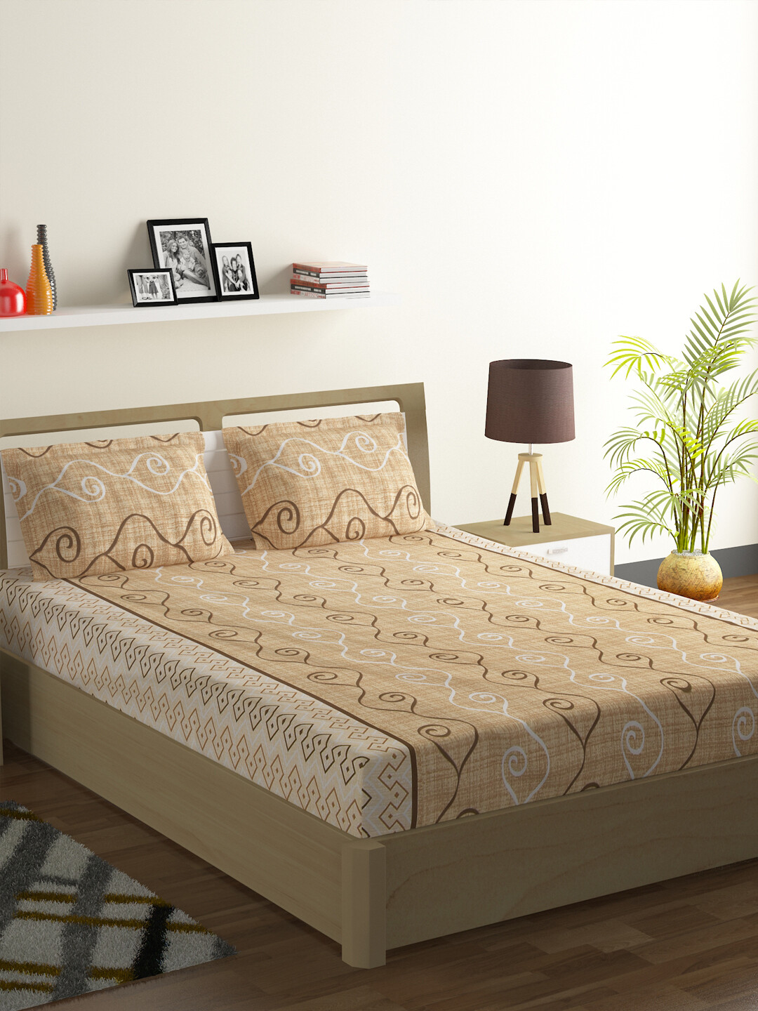 Swayam Swadeshi Sepia 200 GSM 100% Cotton Double Bedsheet with 2 Pillow Covers